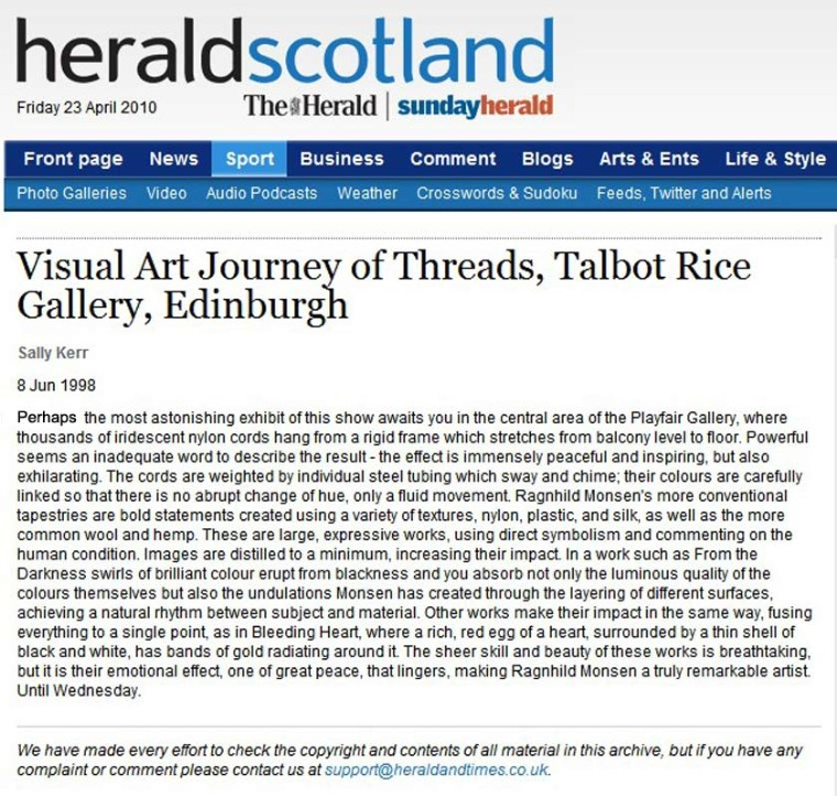 Ragnhild Monsen Herald Scotland Press critic